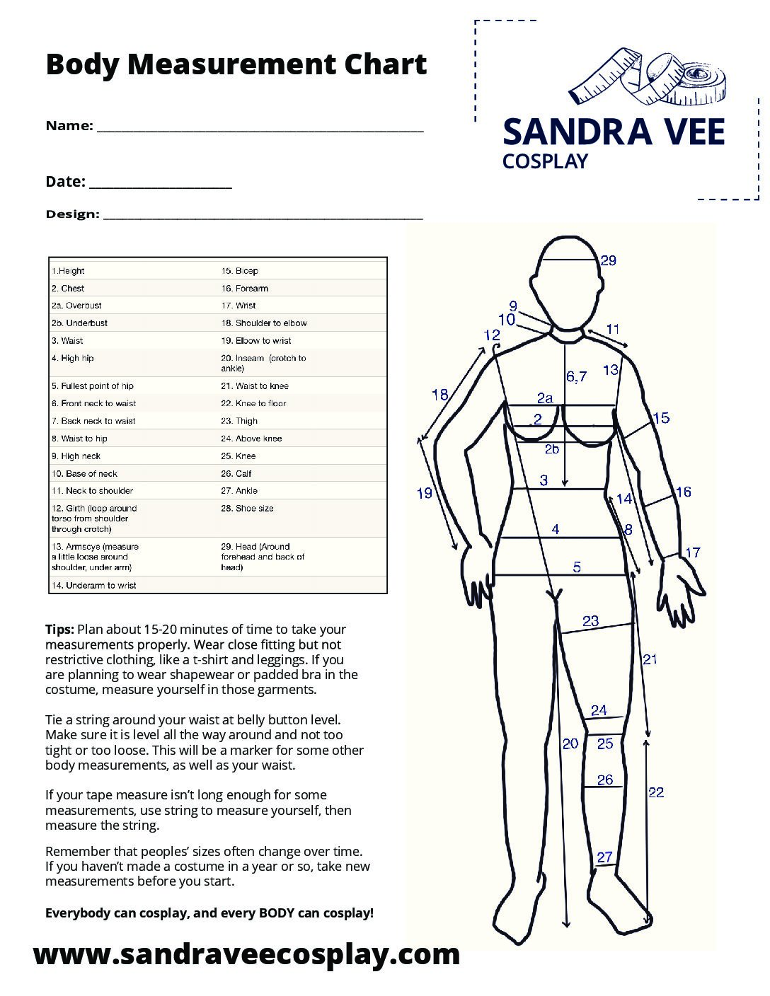 picture regarding Printable Body Measurement Chart for Sewing titled Cosplay Sewing Models - Sandra Vee Cosplay
